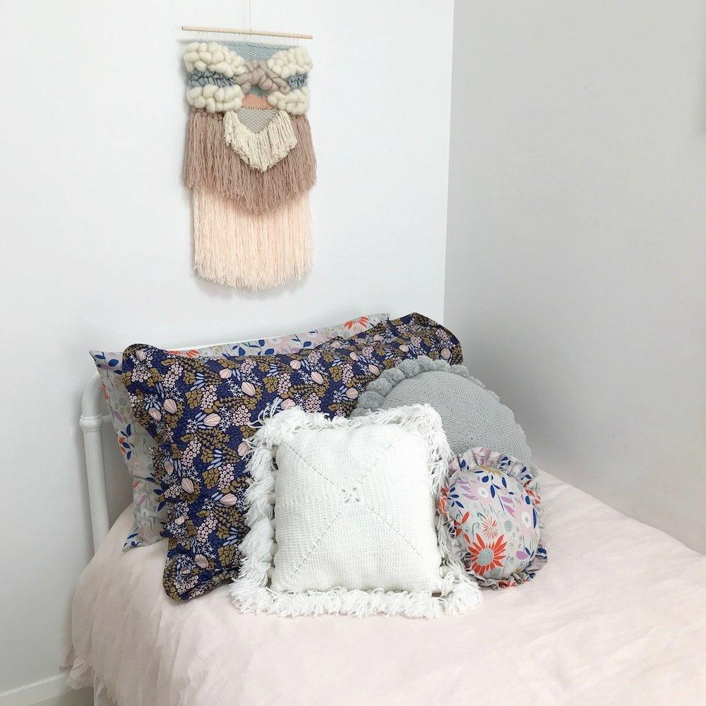 ruffled pillowslip seashell floral organic cotton frilly pillowcase