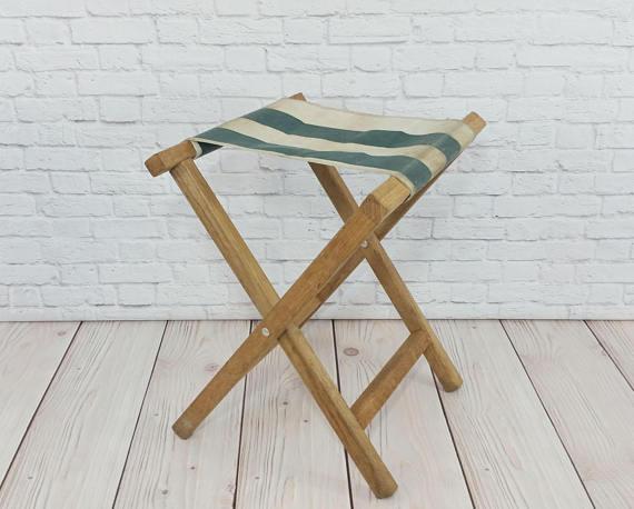 Fine Vintage Camp Stool Green White Stripe Neustadt Studio Bralicious Painted Fabric Chair Ideas Braliciousco
