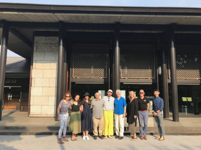The 2018 Theatre Nohgaku Writer's Workshop outside the National Noh Theatre in Sendagaya after a performance of the Noh  Aoinoue .
