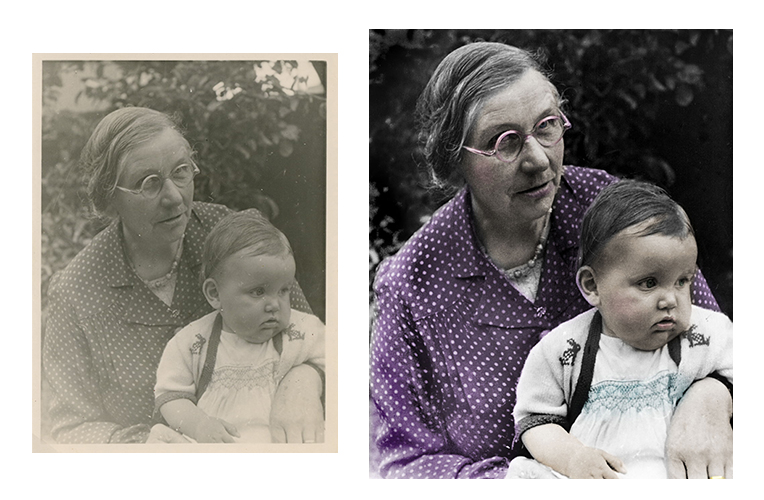 This before and after example has been restored and colourised
