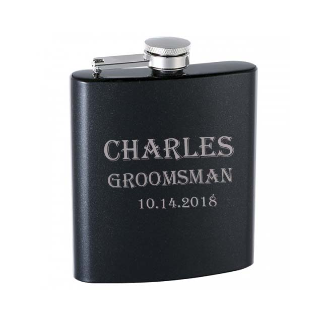 Engraved Flasks   Stainless steel flasks are available in a wide variety of colors and two sizes 6oz and 8oz, all of which are engraved to suit your needs.