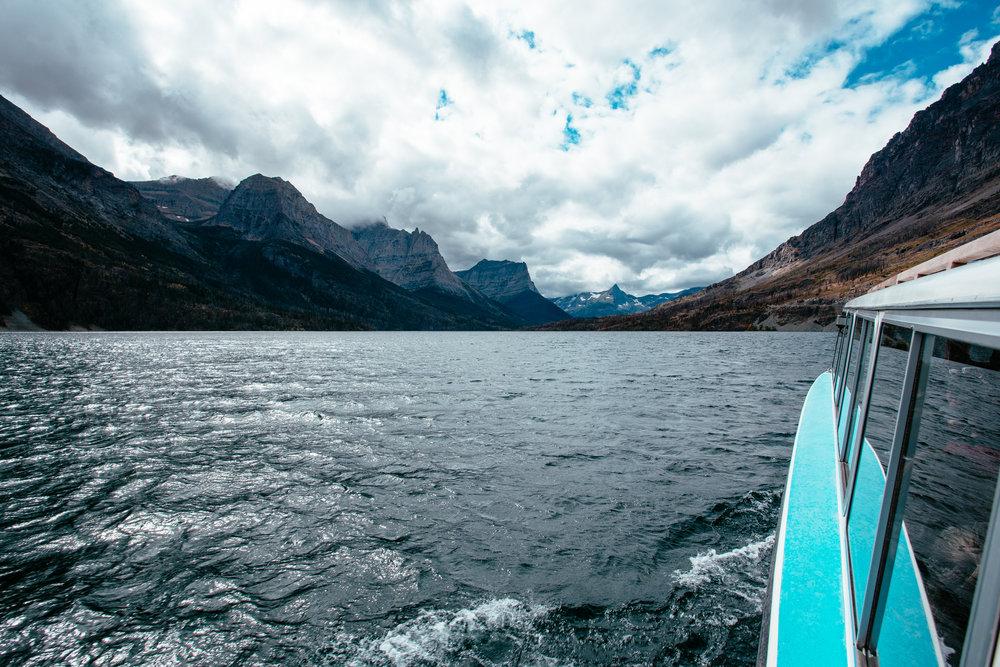 Boat ride across St Mary Lake