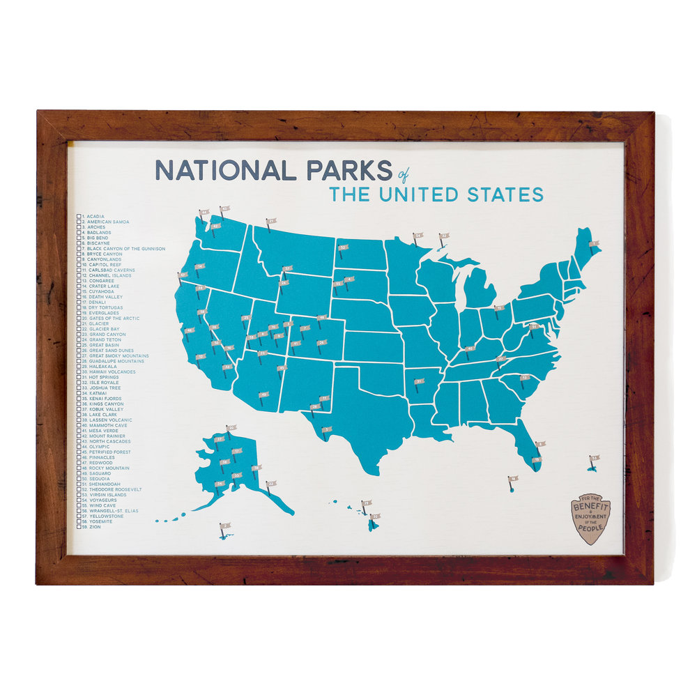 National Parks Map Checklist Gitchi Adventure Goods