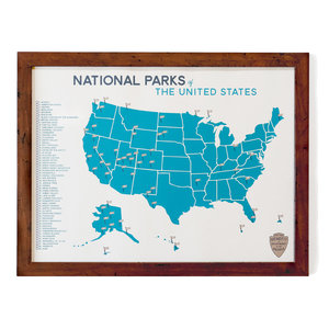 Map Of Us With National Parks.National Parks Map Checklist Gitchi Adventure Goods