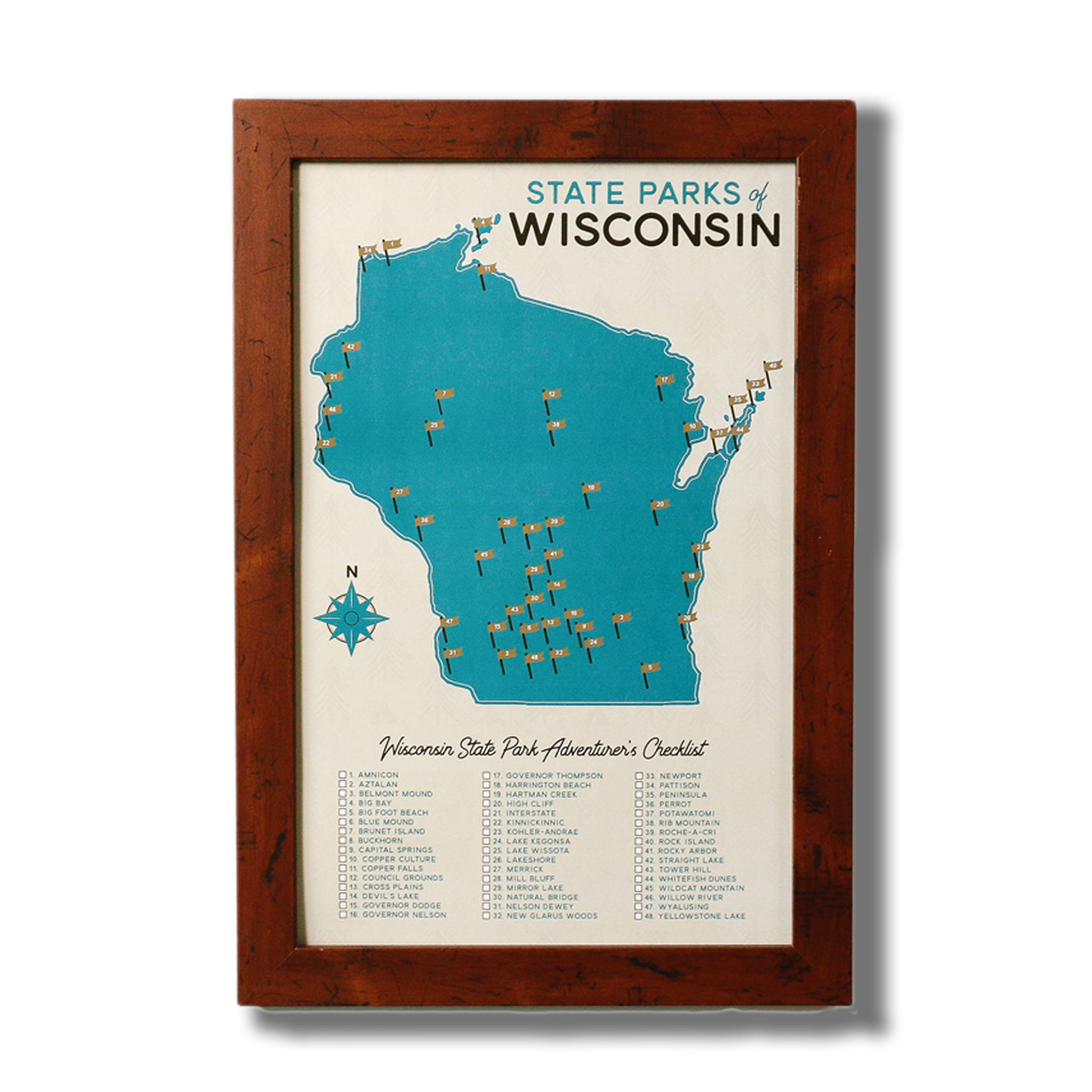 Wisconsin State Parks Map & Checklist — Gitchi Adventure Goods