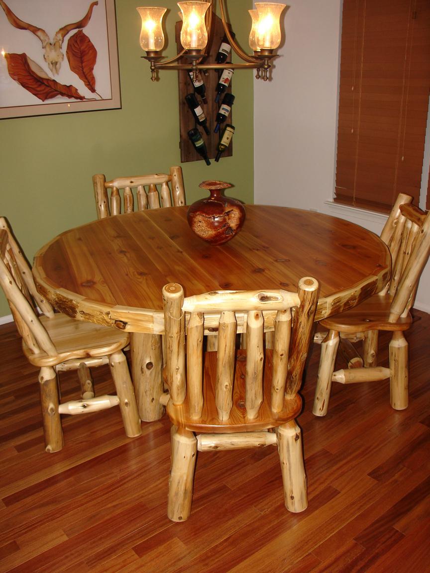 Cedar Log Dining Room Table Chairs
