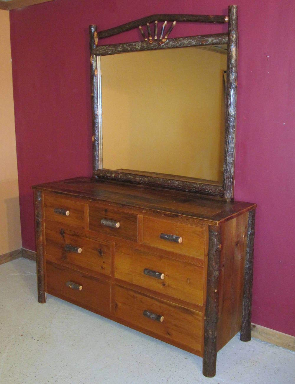 hickory-log-dresser-mirror-unique