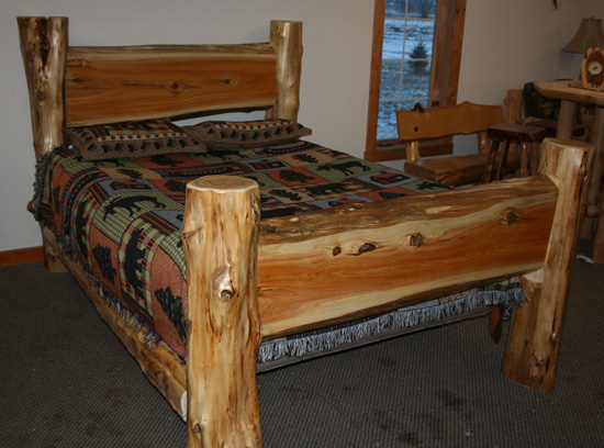 Cedar Log Slab Bed