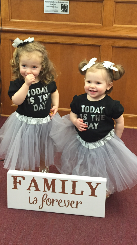 The Kelton sisters on their adoption day in March.