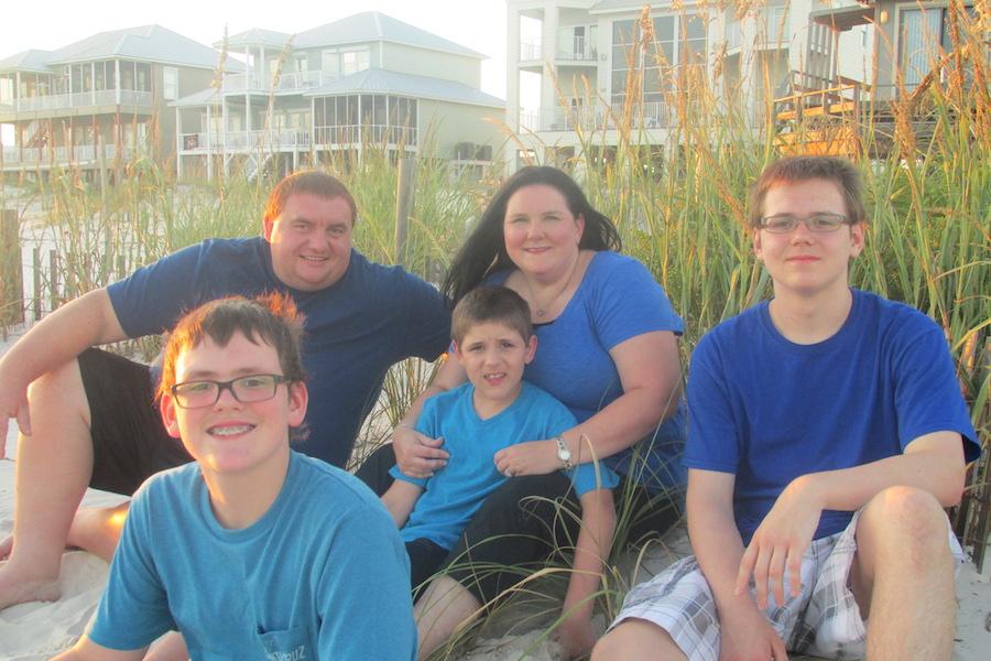 (From left) Ethan, Matt Oldham, Aden, Amanda and Trevor Mosley.
