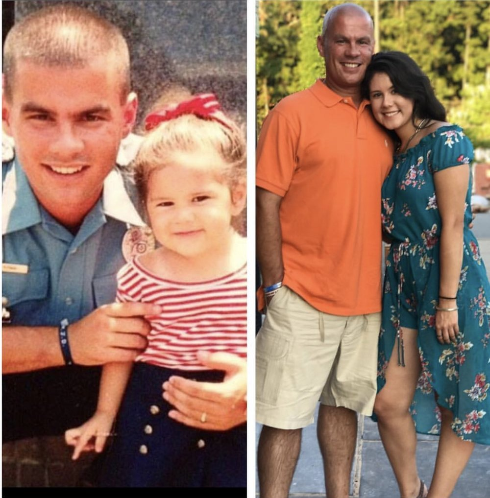 Norman with his daughter, Alyssa, the day he was sworn in as a police officer in 1998. Norman and Alyssa recently.