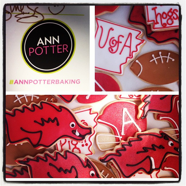 Get festive with Razorback cookies by Ann Potter Baking.