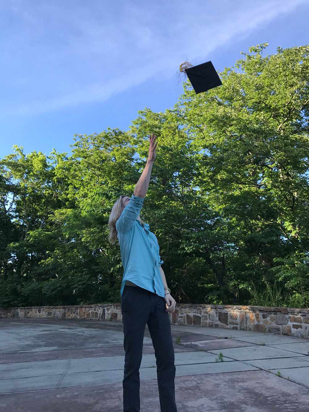 My oldest son feeling a little post-graduation joy.