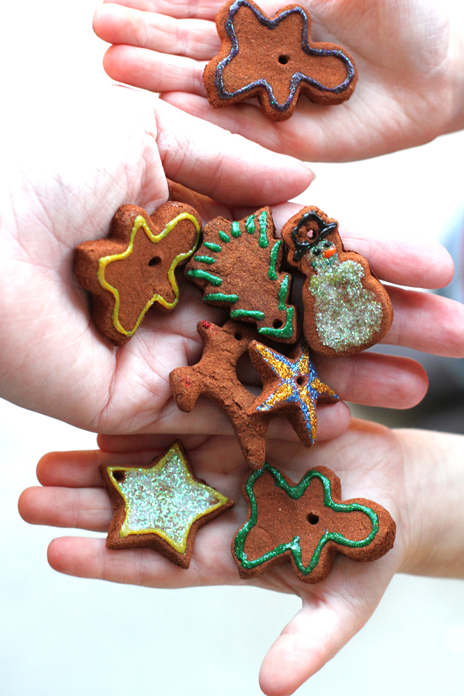 We can't let the season pass without making cinnamon clay ornaments to give away. They smell wonderful for years and make great teacher gifts, especially when paired up with kid-made cookies.