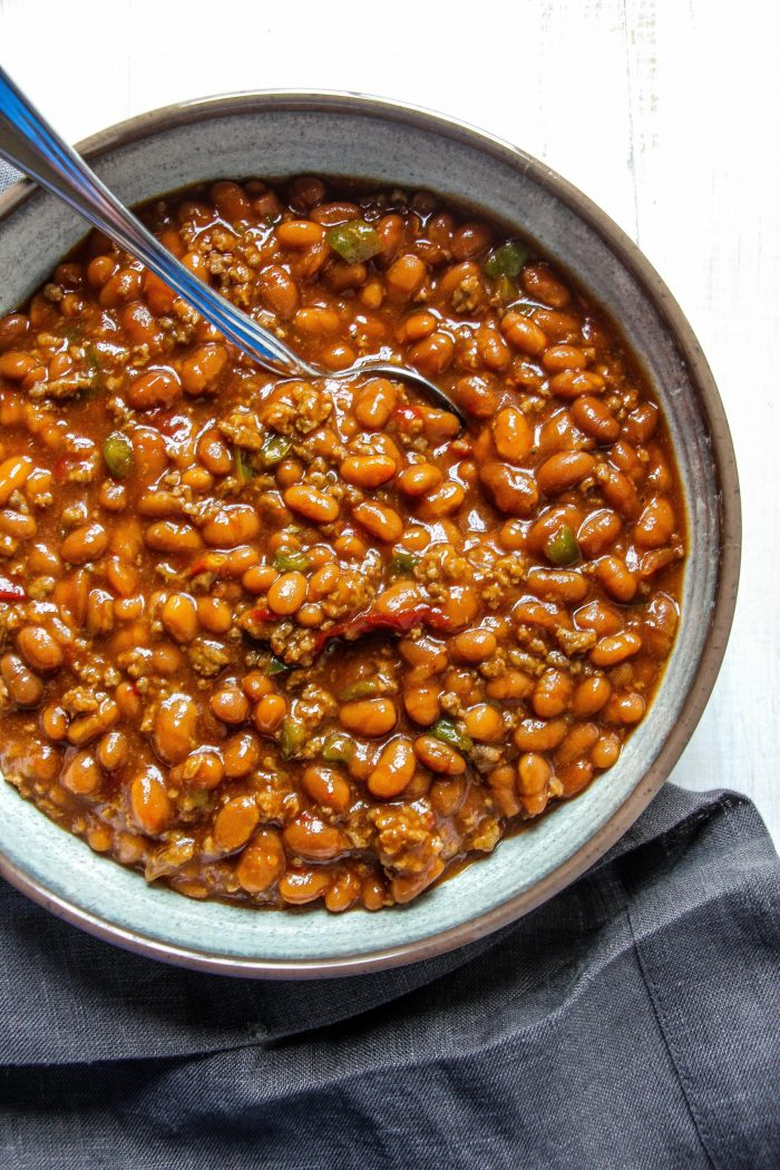 """I like to have something warm and comforting prepped for dinner. One of our favorites is my mom's """"campfire beans."""" It's a sweet and savory alternative to chili that is wonderfully kid-approved."""