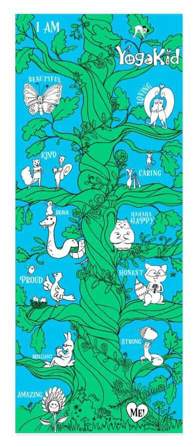 Yoga Kids My MAT (MAT stands for Mindfulness and Affirmations Time) offers kid-sized yoga mats used for learning how to create positive affirmations. Plus, they give kids a space of their own to practice next to you!