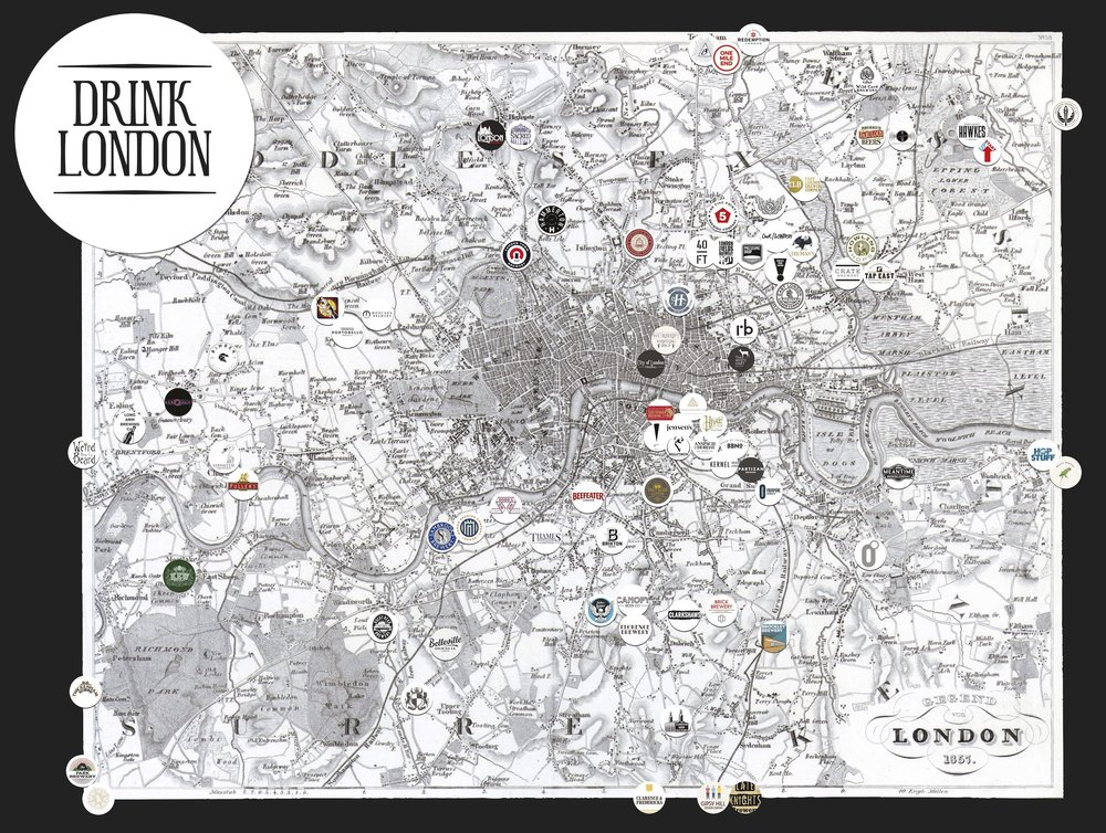 London distillery and brewery map 2016