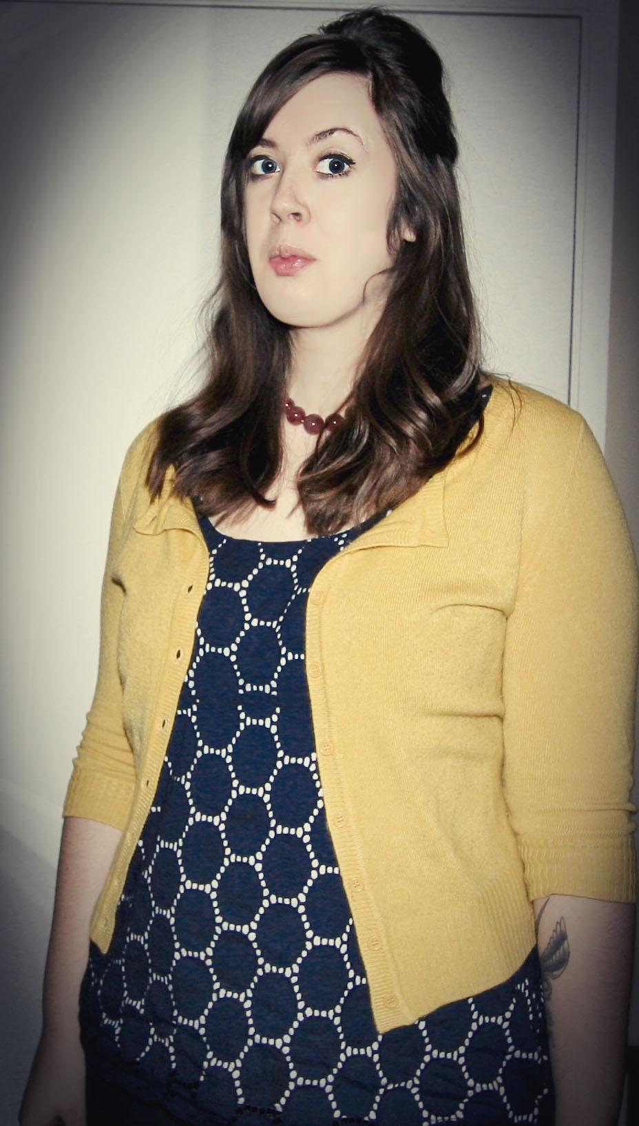 Blue Top & Yellow Cardigan