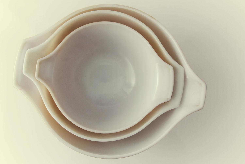 Butterfly Gold Pyrex Bowls