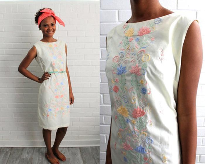 Vintage Embroidered Pastel Dress