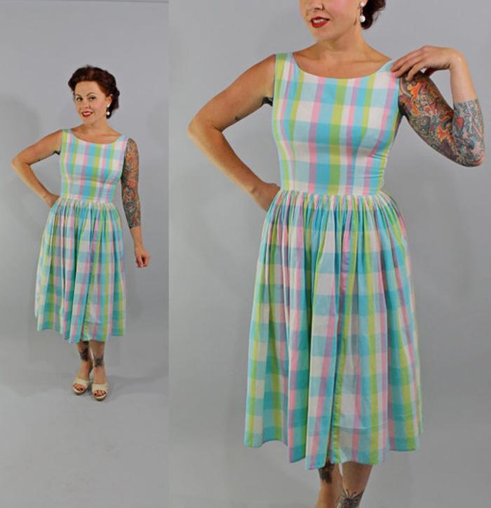 Vintage Plaid Pastel Dress