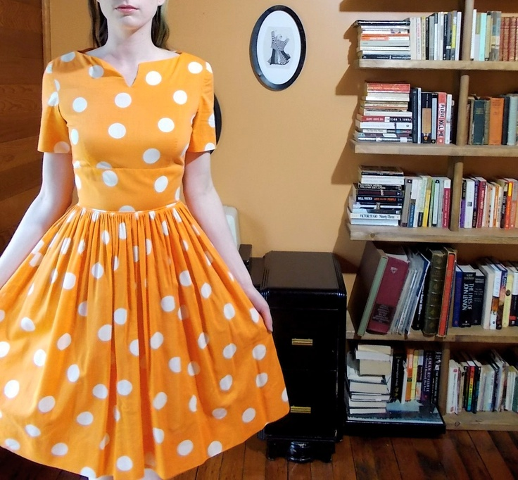 Vintage Orange Polka Dots