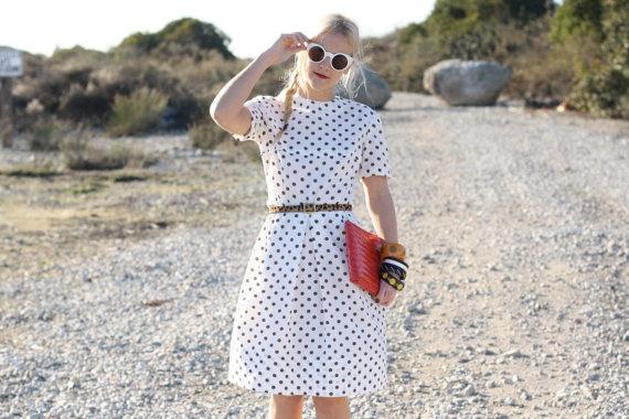 Vintage White Polka Dots