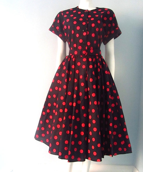 Vintage Red Polka Dots