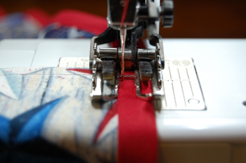 Figure 13: sewing flags between the bias tape