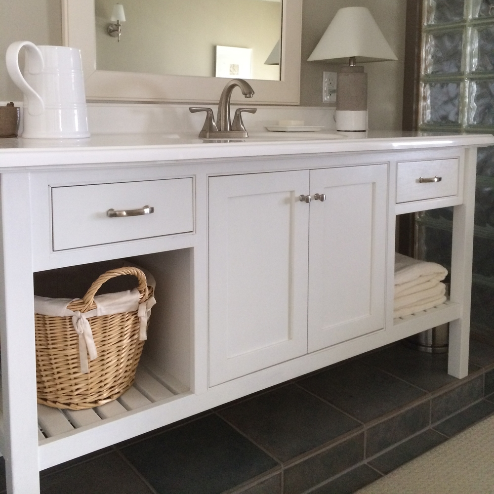custom painted hardwood vanity | Lake Champlain NY