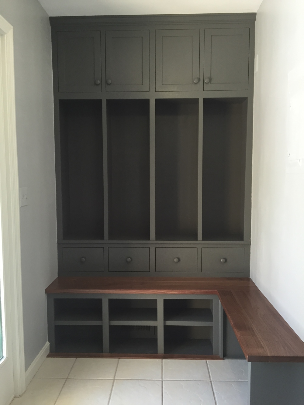 Walnut Mudroom Cabinetry