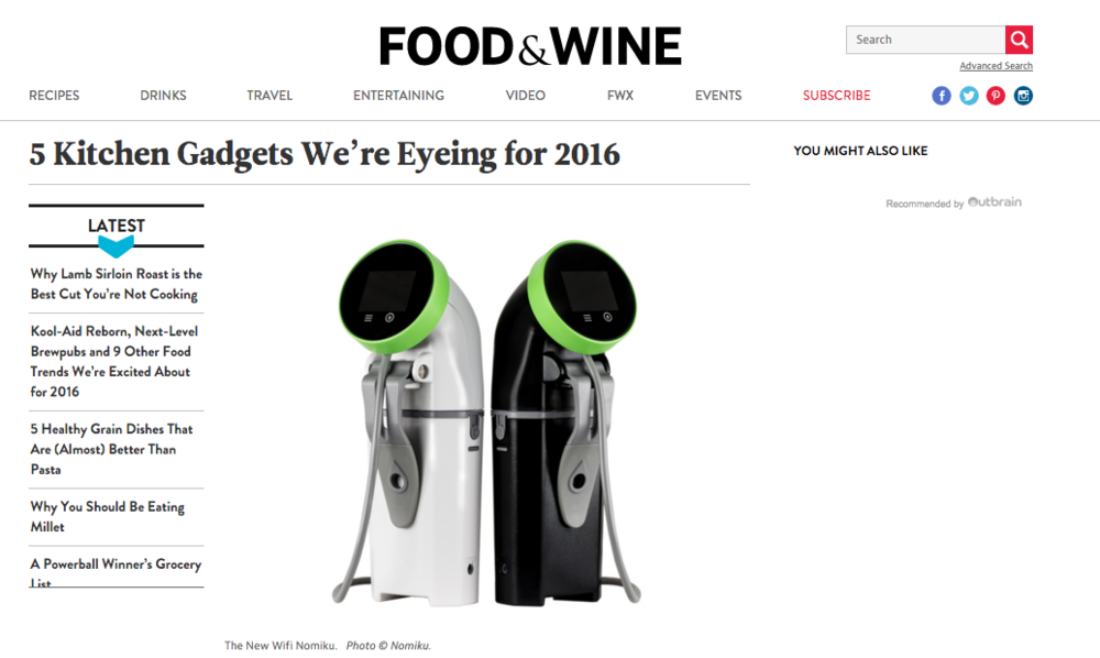 Wi-Fi Nomiku Featured in Food & Wine