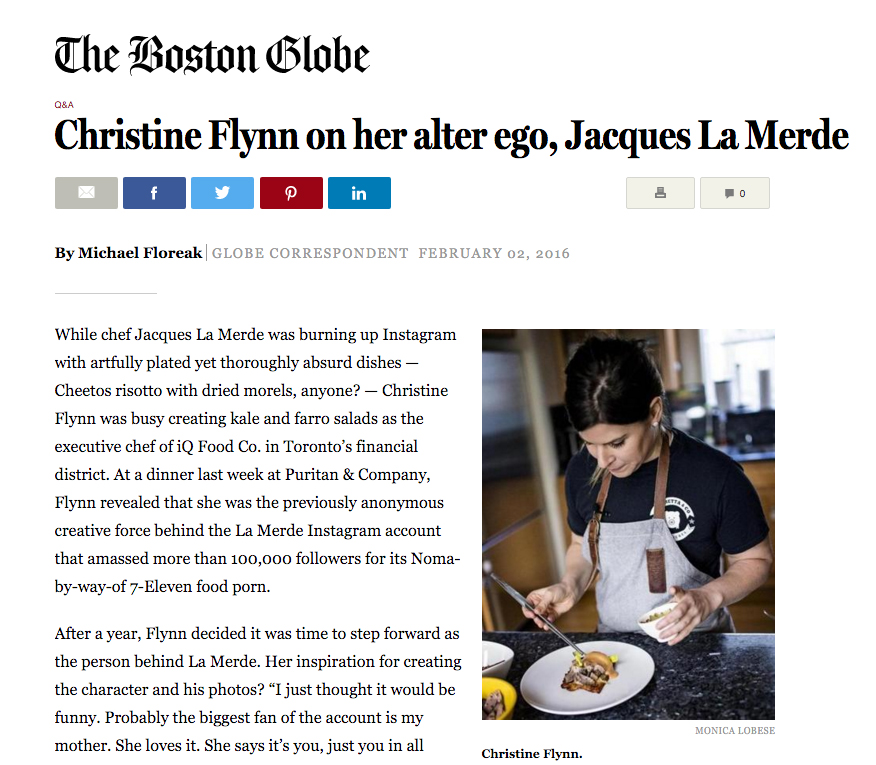 My photo of Christine Flynn aka  Chef Jacques LaMerde  on Boston Globe, credited as Monica LOBESE. Ha!