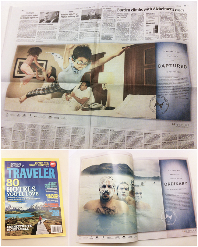 My Hilton HHonors Ads in USA Today and NatGeo