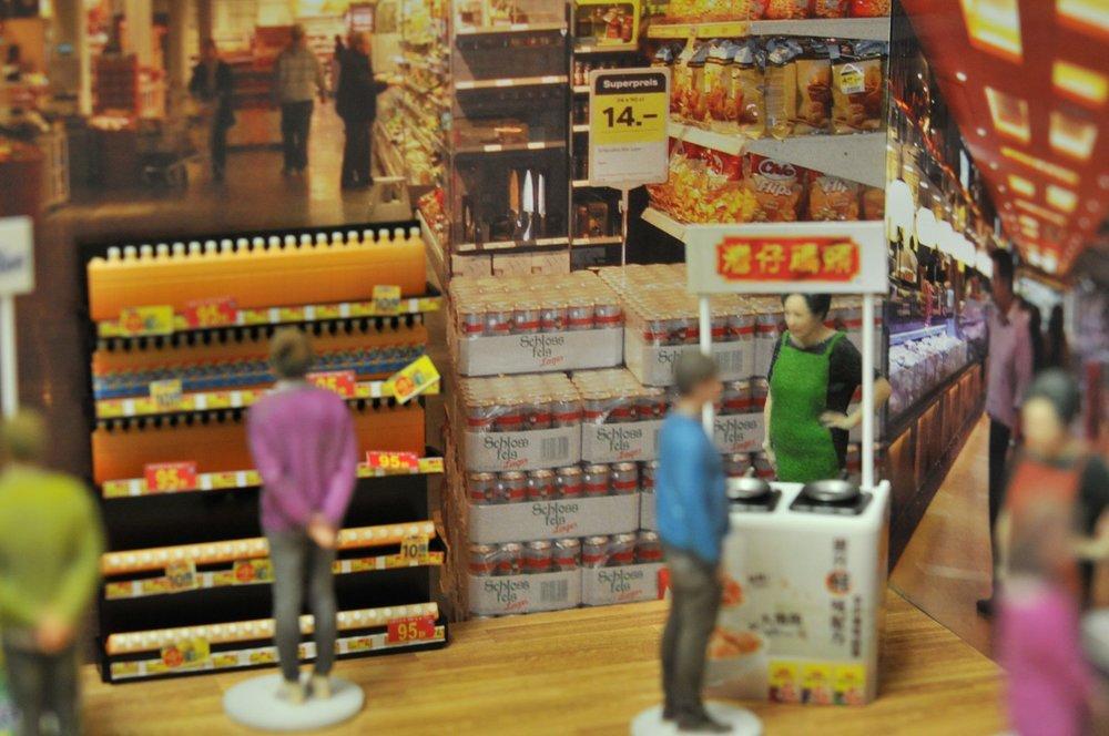 不同品牌的超級市場演示
