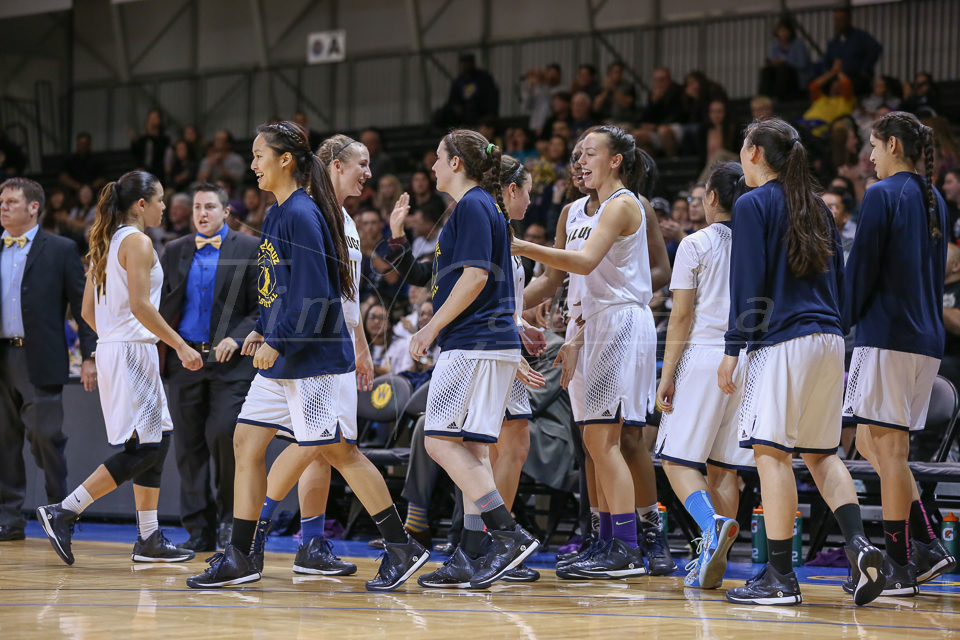 SANTA CRUZ, CA - FEBRUARY 28:  UCSC vs Cal State San Marcos womens basketball on February 28, 2015 at Kaiser Permanente Arena in Santa Cruz, California. (Photo by Tim Cattera Photography)