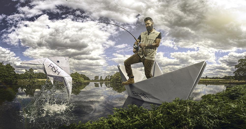 Paper Boat Fisherman
