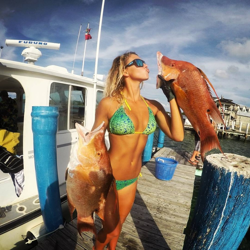 Kiss me, baby!   Female angler  Cheyenne Lee . She has a few followers on  Instagram . I wonder why?
