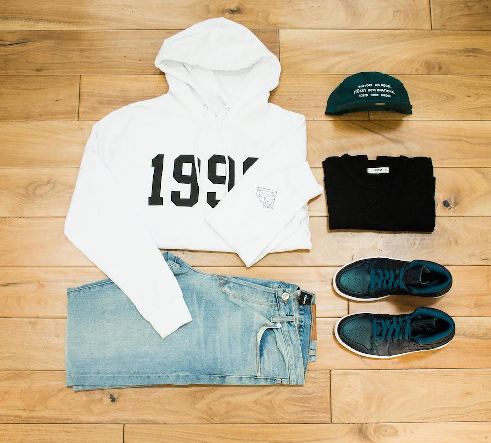 A solid mix of  T-Shirts, Jeans, Shorts, Hoodies, Button Downs, Bags, etc..