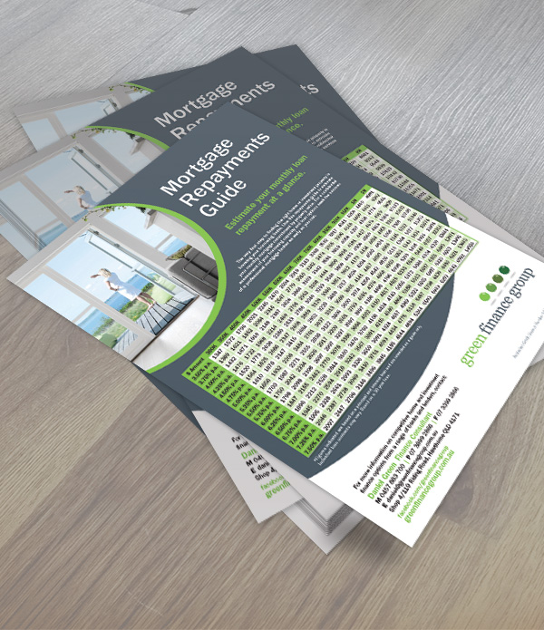 Green Finance Group mortgage repayment flyer.