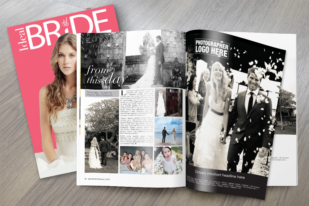 Sample  'Real Life Bride'  spread for Ideal Bride & Glamour, 2012.