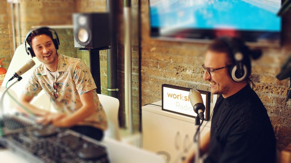 Resident DJs Dragos & Harry in their studio