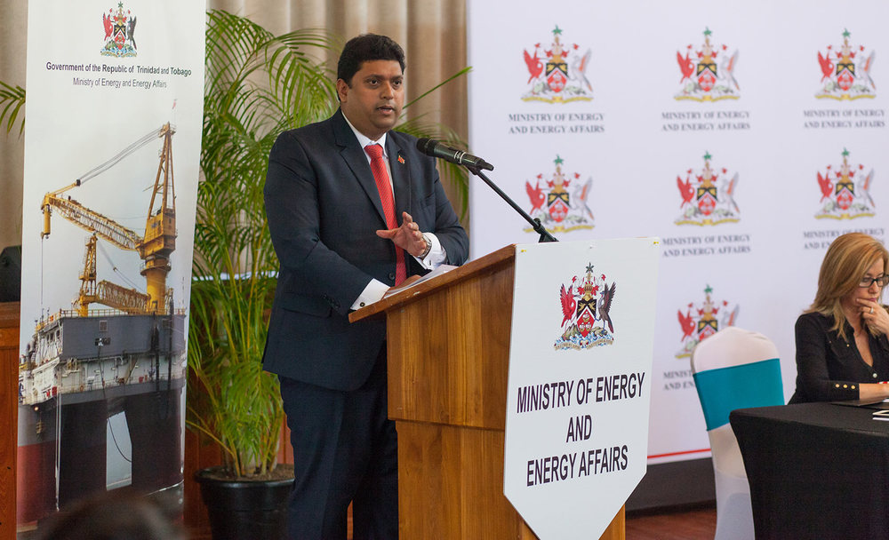 Minister of Energy and Energy Affairs Kevin Ramnarine at a recent Petrotrin event . Photo by Mark Gellineau
