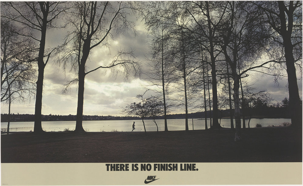 "Poster, There Is No Finish Line, 1977; Designed by John Brown & Partners ; USA; offset lithograph on paper; 56 x 91.3 cm (22 1/16 x 35 15/16 in.); Gift of Various Donors; 1981-29-205. Used per Cooper Hewitt's ""Fair Use"" guidelines."
