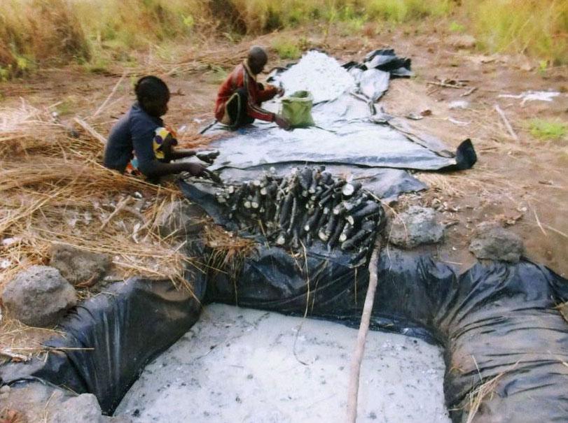 Her har urfolket laget et basseng der manioken skal få ligge i bløt.