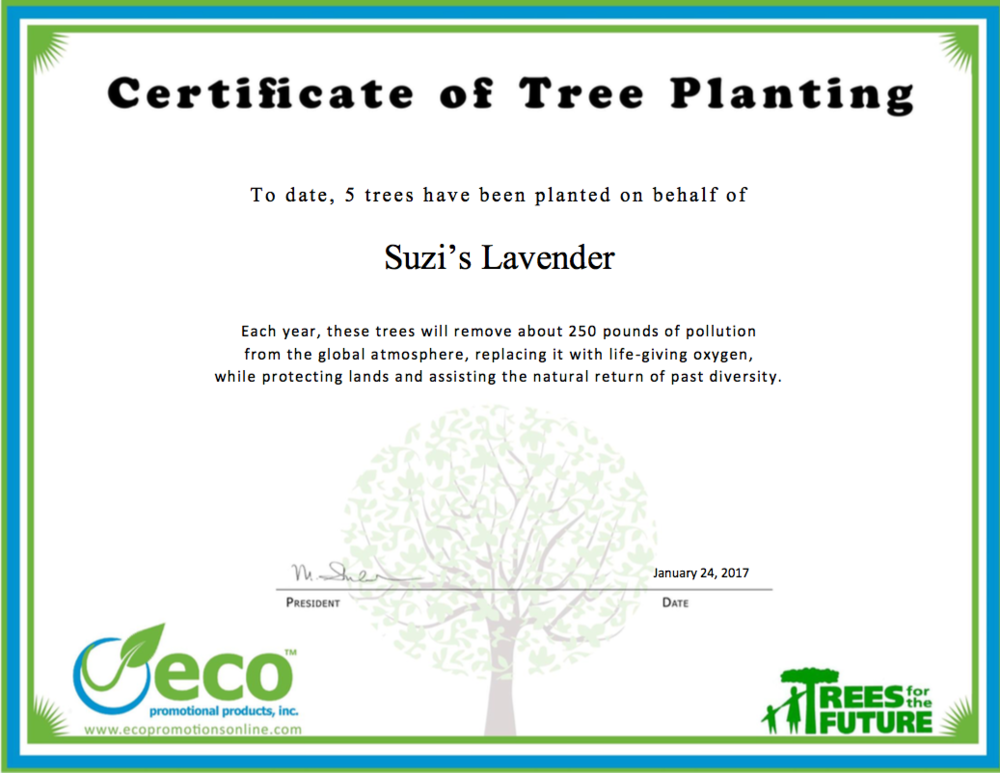 We work with Eco Promotional Products,a company that plants trees each time we place an order.