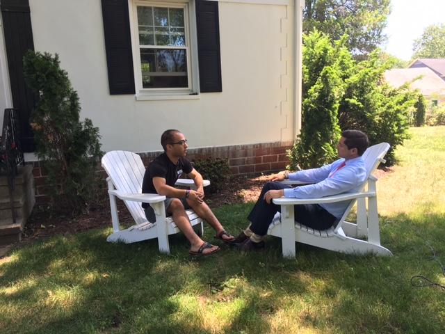 Noah Buck being interviewed by Channel 8 news anchor Scott McDonnell.