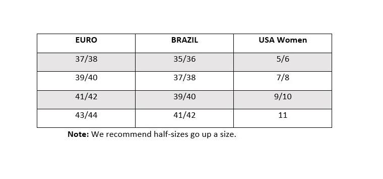 Brazil women's sizing chart