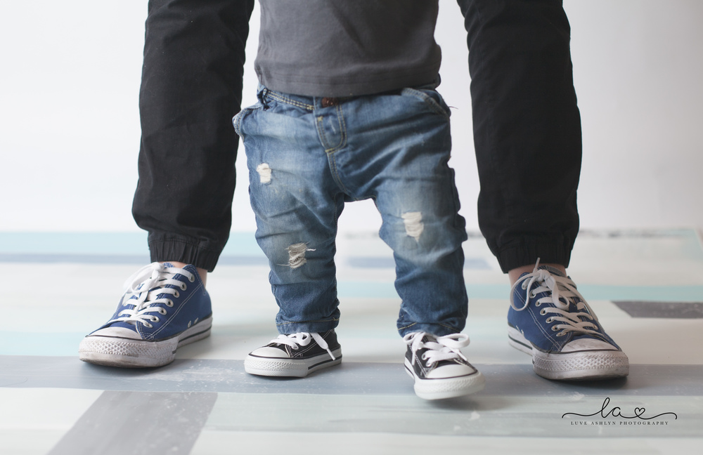 Baby boy and dad with matching converse all star shoes