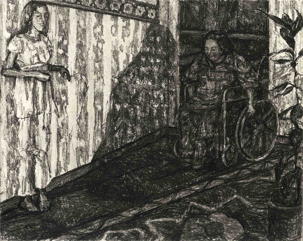 "The Ramp, soft-ground etching with drypoint, 8"" x 9-3/4"""